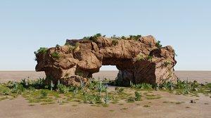 3D model desert rocks blender