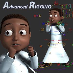 3D model arabic black muslim boy cartoon