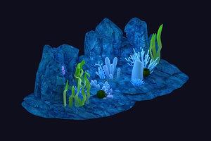 3D underwater plants seagrass corals model