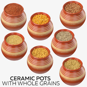 ceramic pots grains 3D