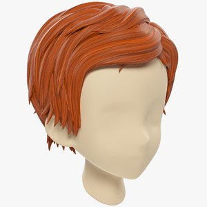 3D model stylized hair mannequin