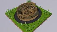 Low Poly Colosseum Rome Italy Landmark