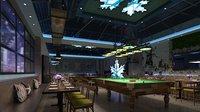 Game Cafe - Pub - Dart - Billiard - Casino 3D model