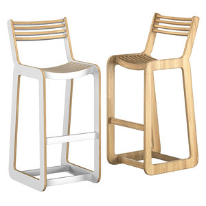 d-bar chair slatted 3D