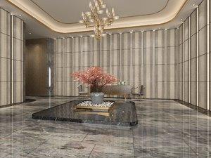 3D interior scene hall bonsai tree model