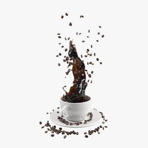 coffee splash bean 3D model