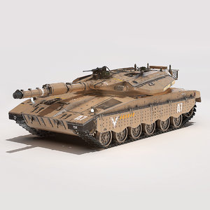 3D realistic merkava battle tank