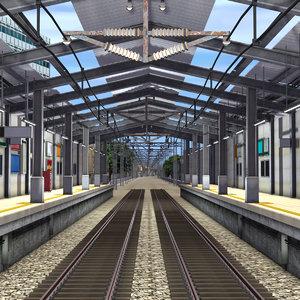 scene railway station 3D model
