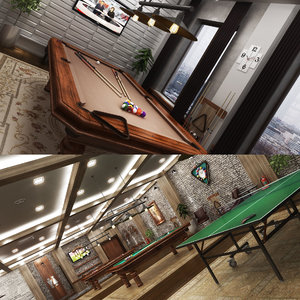 3D billlard ping pong cafe