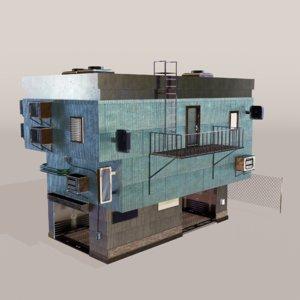 garage building cyberpunk 3D model