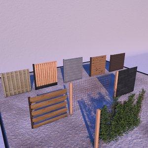fences landscape garden 3D