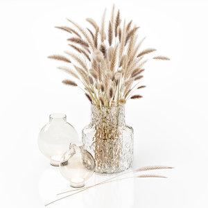 3D dry flowers glass vase