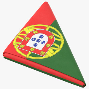 flag folded triangle portugal 3D model