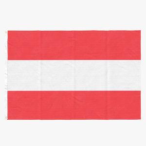 flag laying pose austria 3D model
