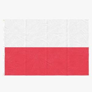 3D flag laying pose poland