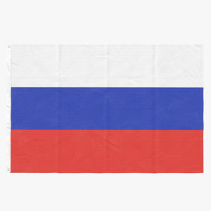 3D model flag laying pose russia