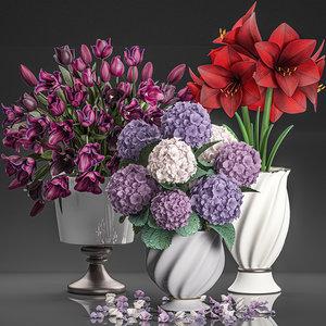decorative bouquets flowers vase 3D