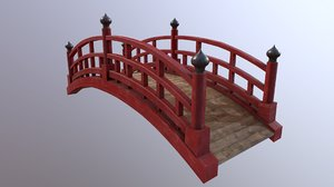 wooden japanese bridge 3D model