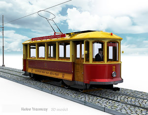 skoda retro tramway trams 3D model