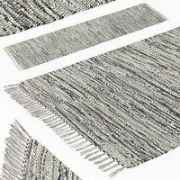 Carpet Hand Woven Striped Pattern Cotton - Gray