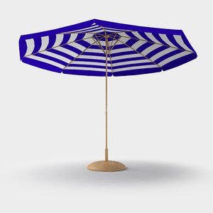 beach umbrella deck 3D model