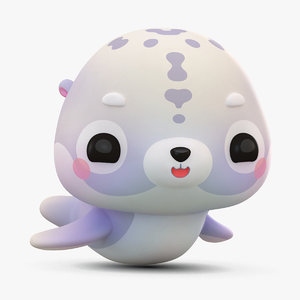 3D model cute cartoon seal