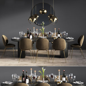 3D model dinning set 08 chair