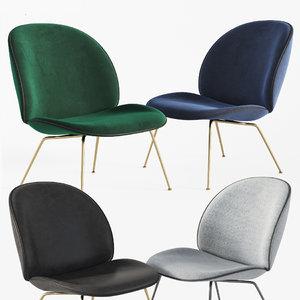 3D model beetle lounge chair gubi