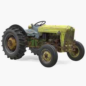 3D old vintage tractor model