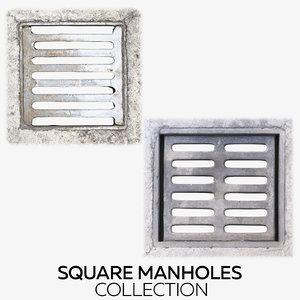 square manholes 3D model