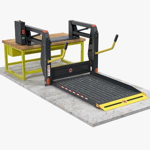 3D linear wheelchair lift invalid wheel