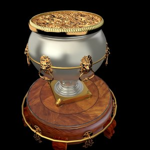 chinese gold pot display stand 3D model