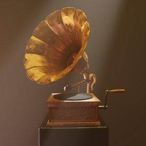 old-timey gramophone 3D