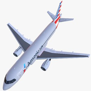 airplane airbus a320 american airlines 3D model