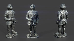 3D medieval knight statue 4