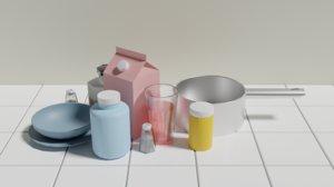 3D model kitchen items