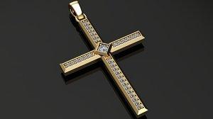 cross pendant diamonds 3D