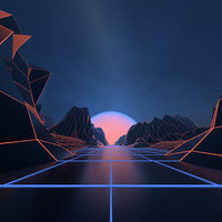 Retro Neon Synthwave Road Environment