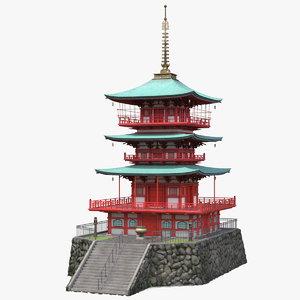 3D japanese temple japan