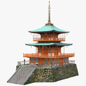 traditional japanese temple japan 3D model