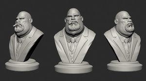 3D mafia boss bust variations