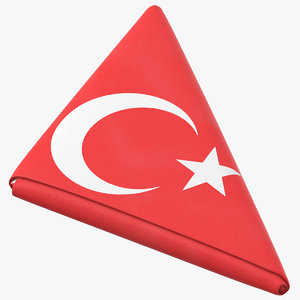 flag folded triangle turkey 3D