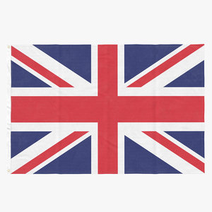 flag laying pose united kingdom 3D model