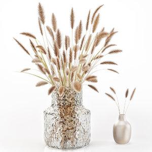 3D model dry flowers glass vase