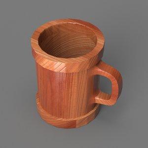 wooden mug 3D model