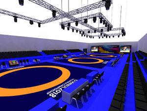 wrestle sports hall 03 3D model