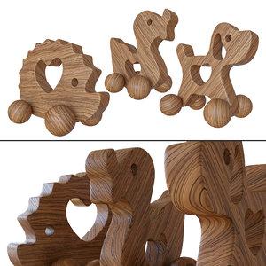 3D wooden gurney model
