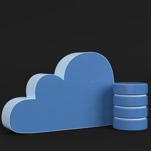 3D cloud storage icon model