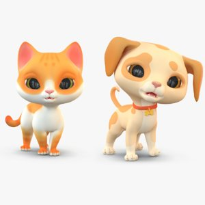 3D cute cartoon dog cat model