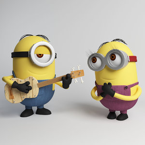 minion guitar despicable 3D